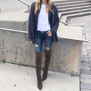 Aldo Haskova Over The Knee Boots Taupe Suede